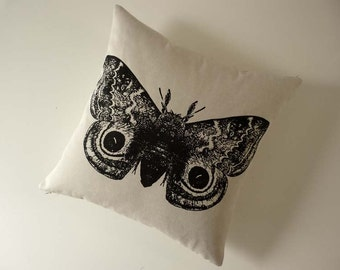 Giant Spotted Moth silk screened cotton canvas throw pillow 18 x18 inch