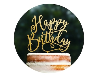 Fun Calligraphy Birthday Cake Topper, Happy Birthday Cake Topper, Scripted Cake Topper, Birthday Party Decor, Happy Bday Topper (T402)