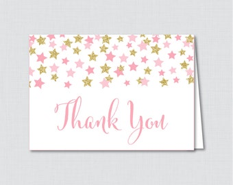 Printable Star Thank You Card - Printable Instant Download - Twinkle Twinkle Little Star Baby Shower Thank You Card, Pink and Gold - 0028-P