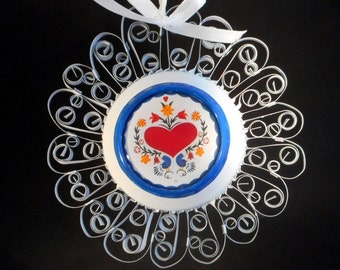 Amish Heart Ornament Recycled Aluminum Can  Quilled