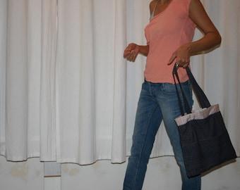 Handmade Bag , Cotton Bag, Tote Bag, Shoulder Bag,  Cotton Handbag, Blue Stripes  Handmade Bag