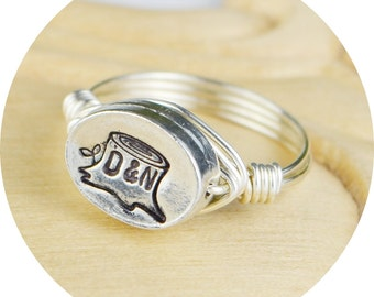 Carved Tree Couples Initials Ring- Sterling Silver, Yellow or Rose Gold Filled Wire Wrapped/ Pewter Bead- Size 4 5 6 7 8 9 10 11 12 13 14