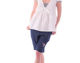 Summer tops/ Woman's tops/ Summer clothes/ Seaman collar/Summer blouse /Linen dress/ Seaman collar