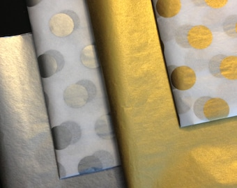 METALLIC TISSUE PAPER 10 Sheets / gold paper / silver / gift wrapping / craft supply / retail packaging / diy / New Years Eve / decoupage