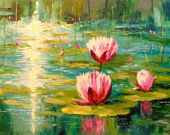 Pond Pond art, flowers painting, nature, original oil art,great art,painting,impressionism,bright,