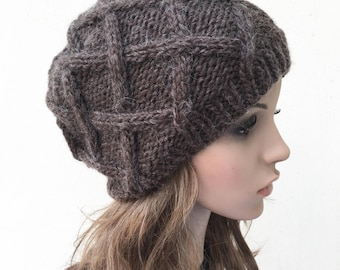 Hand Knit Hat wool Beret Hat Brown hat