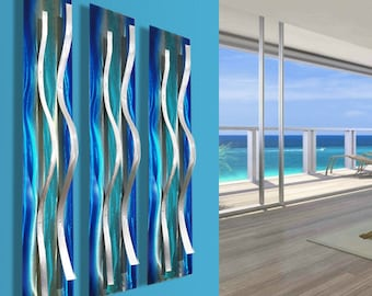 "Modern Abstract Blue Metal Wall Art Sculptures ""3 Tides"" by Dustin Miller"