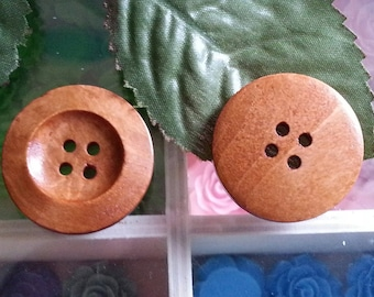 Round buttons painted with 4 holes wood buttons, burlywood environ28 mm in diameter