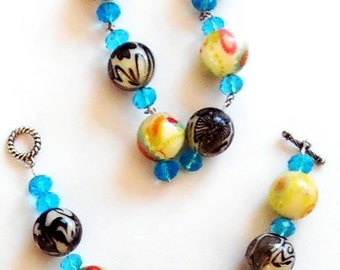 Midnight Flowers Bracelet and  Earring Set