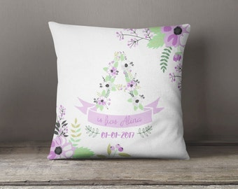 Personalized baby gift, purple nursery decor, Baby name cushion, baby shower gift, baby girl gift, personalized pillow, new baby gift