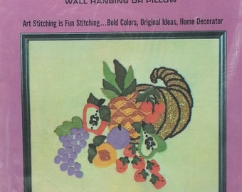 "Vintage Cornicopia Heritage Crewel Kit - Cut Size 14"" x 12"" Wall Hanging or Pillow Sew N Tell"