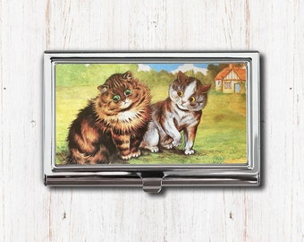 Gray cat business card case business card holder card case two cats business card case business card holder card case card holder reheart Images
