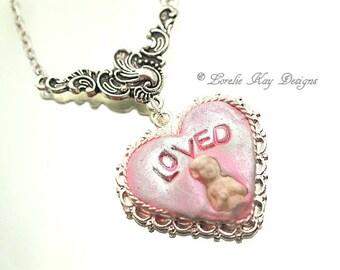 Loved Frozen Charlotte Necklace Tiny Charlotte Doll Silver Pink Heart Pendant Lorelie Kay Original