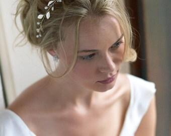 Freshwater Pearl Bridal Headband, Pearl Wedding Headband, Silver Bridal Accessory,Wedding Hair Accessory,Bridal Headpiece,Hair Piece~DC-7043