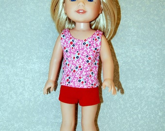 Flower Tank Top red shorts set handmade for 14.5 inch Wellie Wishers tkct1223 READY TO SHIP