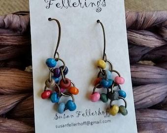 Colorful Dangle Earrings - Pop of Color - Handmade Earrings - Lightweight Earrings - Fun Earrings - Multi-Color Earrings
