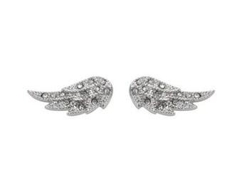 Angel Wing Bling Earrings Silver Tone Imitation Diamonds Stainless Steel Motorcycle Biker Jewelry