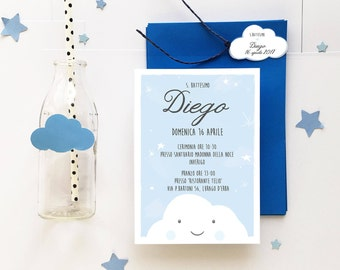 Printable Baby Shower invitation for baby boy with cloud . I customize text and send you the file . You print as many copies as you like.