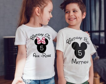 disney inspired birthday Kids  T-Shirt, Childrens Toddlers T Shirt Top.