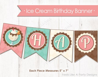 Ice Cream Happy Birthday Banner - Instant Download
