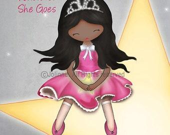 She leaves a little sparkle wherever she goes, Girls Room Wall Art Poster,Kids Bedroom Pictures,Baby girls nursery art,gift for little girl