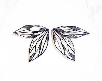 Hand drawn Fairy Wings | Stud Earrings | Transparent Wings