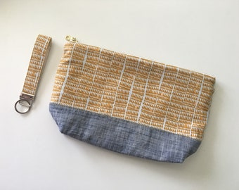 Oversized Flat Bottom Zip Pouch with matching key fob