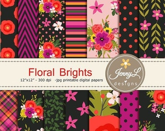 50% OFF Floral digital paper,  Black Wedding Floral Paper Digital scrapbooking, invitations, birthday, wedding, Planners