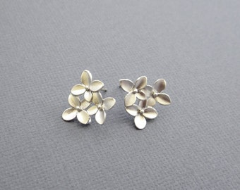 Cherry blossom Studs Earrings, silver earrings, stud earrings, cherry blossom jewelry, cherry blossom Jewelry