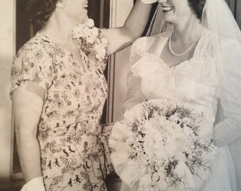 Mother With the Bride 1940's Large Original Photograph