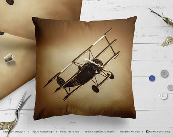 Airplane Pillow, Airplane Cushion, Throw Pillow, Pilot Gifts, Home Decor, Aircraft Pillow Case, Cover, Bedding, Flying Legends, Fokker Dr-1