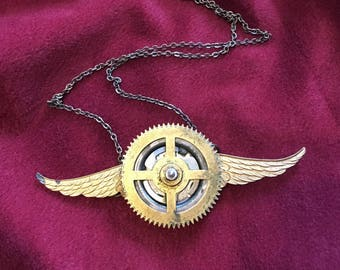 Cuckoo Clock Wings Steampunk necklace