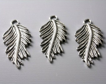 Antique Silver Plated Rain Forest Leaf Charms - 6 pcs