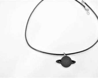 Choker necklace planet Saturn black hand painted