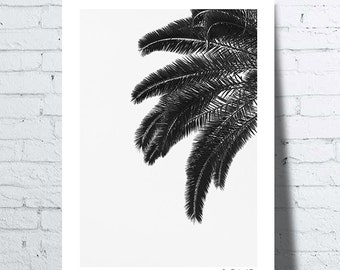Hawaii palm leaf, black and white, tropical wall art, print, modern poster