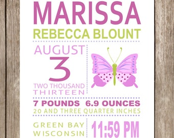 PRINTED Butterfly Subway Art Print PDF Girls Art Prints Kids Art Prints Birth Stats Wall Art Nursery Decor Nursery Wall Art New Baby Gift