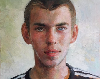 the Ukrainian, original oil painting of young Ukrainian man, one of a kind painting, impressionistic portrait