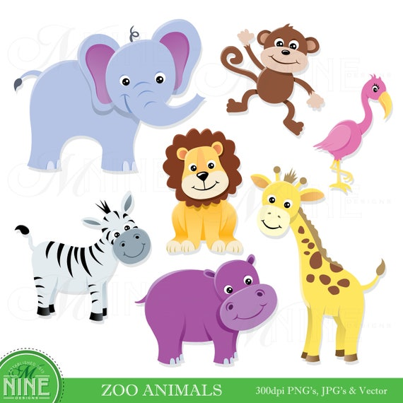 animal clip art zoo animals clipart digital clip art rh etsy com zoo animals clip art black and white zoo animal clipart free
