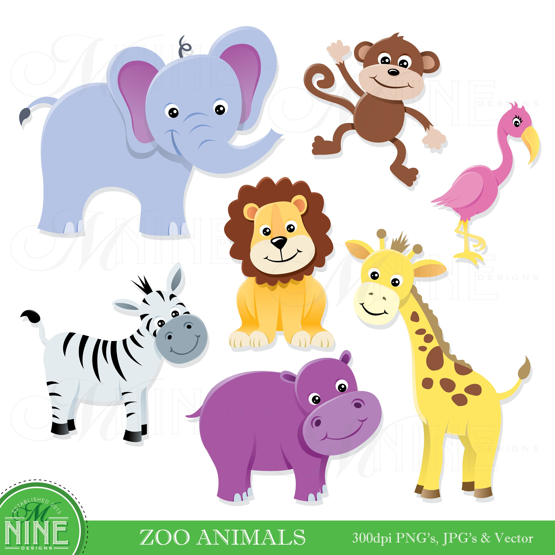 zoo animals clip clipart animal elephant vector tiere tier lion digital flamingo instant heads digitale