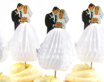 Party Picks / Bride and Groom / Cupcake Picks / Set of Six / Honeycomb Tissue Paper Skirt / Bridal Shower / Wedding Cake Toppers