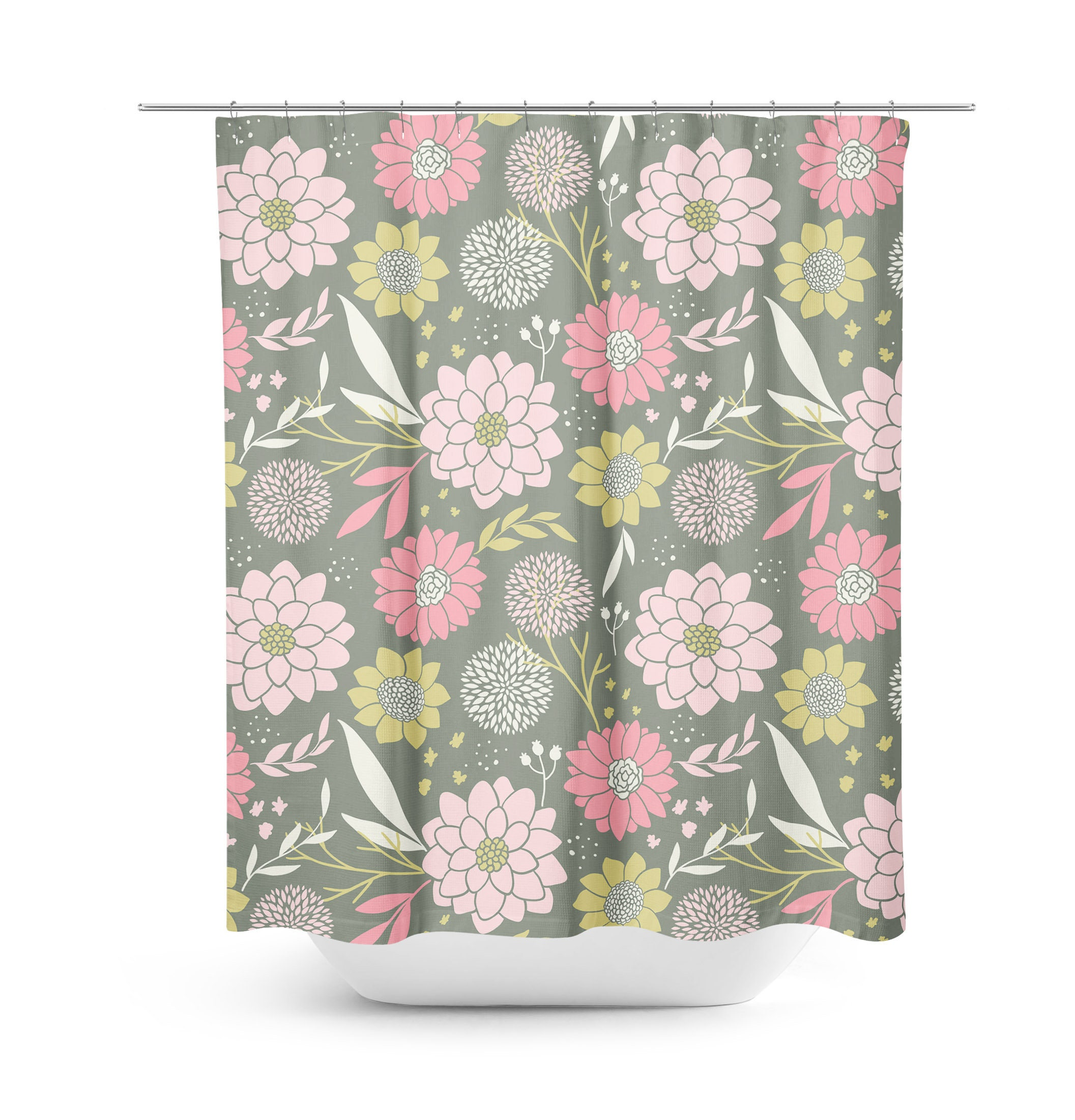 Pink Shower Curtain Flowers Bathroom Decor Light Girl Teen Geometric Floral