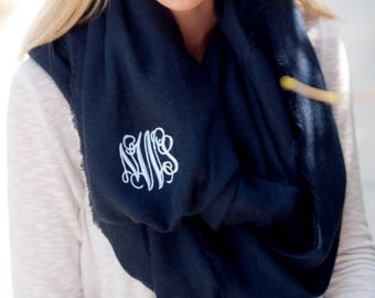 Navy Monogrammed Londyn Infinity Scarf, Womens Monogram Navy Scarf, Personalized Scarf, Embroidered Scarf