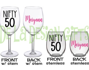 Nifty 50 Personalized Wine glass, Extra large 20 oz, name and polka dots, regular or stemless style, Milestone Birthday