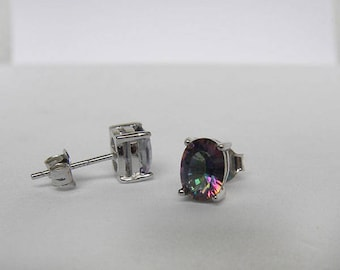 1.80 ct. Genuine Mystic Topaz Oval Concave Cut Solid 925 Sterling Silver Stud Earrings