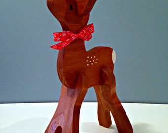 Small Wooden Reindeer Head Straight