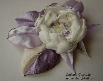 Handmade white satin flower brooch, flower clip & pin, embroidered flower
