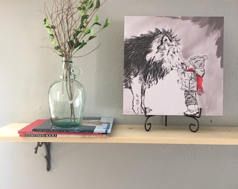 Lion and Child Canvas Print, Wall Art, Nursery Decor, Black and White, Red, 14x14