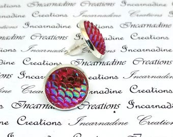 Pink iridescent mermaid dragon scale post stud earrings