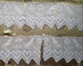 Lot Antique Birds Hearts Filet Figural Crochet Heart Wide Lace Trim Edging  6 pc  A38