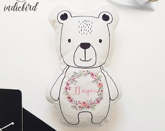 Personalised Bear Plush Rattle or Pillow, baby rattle, plush toy, Bear pillow, Floral Wreath, keepsake, Baby shower gift